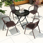 Garden Furniture Bistro Patio Folding Table Rattan Chairs In/ Outdoor Tea Dining