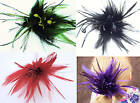 Long Feather Plume Spray & Glitter Stem Hair Elastic Fascinator Hat Making NEW