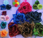 NEW FEATHER & ROSE FLOWER HAIR WRIST CORSAGE FASCINATOR