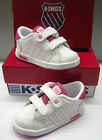 K-SWISS INFANTS LOZAN WHT/GUM PINK LEA Riptape TRAINERS*