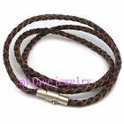 Magnetic Clasp 3MM Braided Genuine Leather Brown Cord