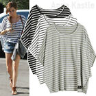 AnnaKastle New Womens Striped Casual Cape Summer Tee Crop Cotton Top size M - L