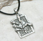 BOOK INVERTED CROSS CLAW Pewter Pendant Leather Cord