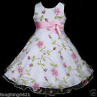 p006 UsaG tu3 X'mas Holiday Dance Party White Pink Flower Girls Dress 2,3,4-12y