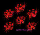 6 RED PAW PRINT RHINESTONE IRON ON TRANSFER HOT FIX