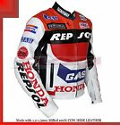 Honda REPSOL RED Racing Jacket Made cowhide milled Leather