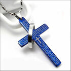 Silver / blue / black stainless steel  Lord's prayer cross and ring necklace