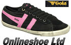 NEW WOMENS GIRLS GOLA CLASSICS QUOTA  BLACK / FUCHSIA WORN LOOK FLAT TRAINERS