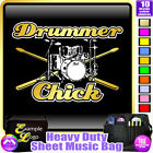 Drum Kit and Sticks Drummer Chick - Sheet Music & Accessories Bag by MusicaliTee