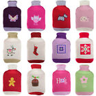 Thermotherapy Hot Water Bottle Two Colour Knitted Sweater Style Cover With Motif