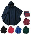 RAIN PONCHO, WIND & WATERPROOF, KNIT BACKING, SNAP NECK, DRAWSTRING HOOD, OSFA