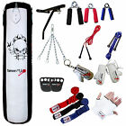 Boxing Punch Bag Set Kit punchbag kickboxing Bag Gloves Wall Bracket BLK / WHT