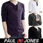 New Mens Slim Fit Cotton Button Neck Long Sleeve Casual T-Shirt Tops Hot Sales