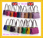 Any 3Pcs Wholesale Large Italian Real Suede Leather Slouch Handbag-TWIN2 Handle