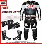 Honda CBR Gray/black Racing Leather Motorcycle suit Jacket/trouser and boots