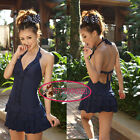 Deep-V Layered Ruffle Swim Dress One-Piece Bathing Suit Swimsuit UW078