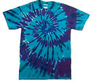 Tie dye T Shirt  all sizes, blue and purple spiral hand crafted in the uk.