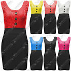 WOMENS LADIES BODYCON LACE BUTTON FRONT DRESS SEXY SLEEVELESS TIE BACK DRESSES