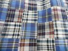 "MADRAS plaid 100% cotton serged squares blues 1 yd x 58"" Mfg in India"