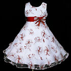w138 x1528 White Chiffon Burgundy Satin Summer Party Flower Girls Dress 2,3-12y