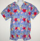 Women's Sportex Scrub Top Lots Of Heart Print S M XL