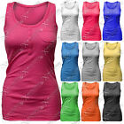 WOMENS LADIES RIBBED BUTTONED VESTS TOP SUMMER VEST CROP HOLIDAY TOPS T SHIRT