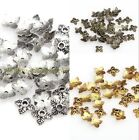 100pcs Retro Silver/Golden/Bronze Tone Leaf Bead Caps 6mm Free Shipping