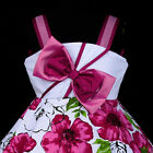 w801 u8 UkG Whites Magenta Flower Girls Dress Summer Off Shoulder Party  2,3-12y