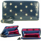 Ladies Womens Blue Designer Star Stud Studded Zip Purse Hand Clutch Bag Wallet