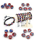 Free Postage Various RHINESTONE CRYSTAL PAVE DISCO Ball BEAD UK USA FLAG PICK