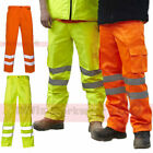 Hi Viz Combat Cargo Trouser Pants Mens Workwear Rail Spec Part Elasticated Waist