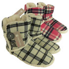 Womens Furry Ankle Boot Slipper Ladies Fur Lined Check Print Slippers Size 3-8