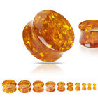 Pair (2) Solid Synthetic Amber Ear Saddle Plugs Tunnels Earlets Gauges