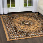 TRADITIONAL PERSIAN SAND BEIGE BORDER AREA RUG ORIENTAL MULTI-COLOR CARPET