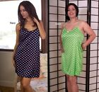 PLUS SIZE LINGERIE CHOOSE FROM NAVY OR LIME POLKA DOT CHEMISE 1X 2X 3X 4X