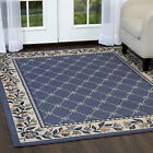 TRADITIONAL FLORAL ORIENTAL BLUE AREA RUG LATTICE BORDER PERSIAN CARPET