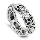 .925 Sterling Silver Halloween Twisted Skulls Band Fashion Ring Size 5-14 NEW