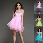 Women short prom gown evening party dress pink Beads  size 6 8 10 12 14 16