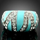 Blue El Turquoise Trendy Finger Ring White Gold Gp Swarovski Elements Crystals