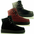 Womens Ladies Flat Ankle Creeper Lace Up Goth Punk Faux Suede Shoe Boots Size