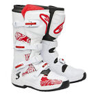 New Alpinestars Tech 3 Mx Dirtbike Offroad Boots White / Red Swirls All Sizes