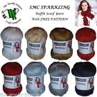 SMC SPARKLING 100g FRILLY ONDAS STYLE RUFFLE SCARF YARN - INCLUDES FREE PATTERN