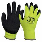 24 Pairs PWS Thermal Safety Work Gloves Yellow Hi Vis Latex Grip Builders Size