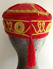 Smoking cap RED VELVET HAT with tassel Choice of size NEW