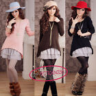 Hot False 2 in 1 Lace Ruffle Jumper Sweater Mini Dress UJ1523