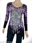 Sugar Rock Women Tie Dye Lace Tunic Shirt  Crystal Cross Shark Bite. S,M,L,XL