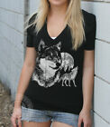 VINTAGE 80s WOLF howling wolves American Apparel unisex 6456 Deep V-Neck T-Shirt
