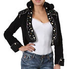 T20 - S M L Military Long Sleeve Pearl Sequin Corduroy Crop Jacket Black Beige
