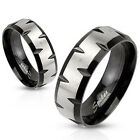 Stainless Steel Black IP Matte Finish Center Faceted Edges Band Ring