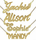 9ct Gold Plated Personalised ANY Name Plate Necklace With Chain In Gift Box